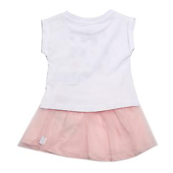 Baby Girls Converse Tee And Tutu Set In White- T-Shirt:- Ribbed Collar- Short