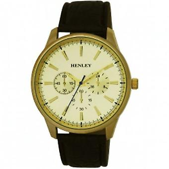 Henley Gents Chrono Effect Champagne Dial Brown PU Strap City Watch H01013.2