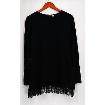 LOGO by Lori Goldstein Top Long Sleeve Knit w/ Hem Detail Black A251903