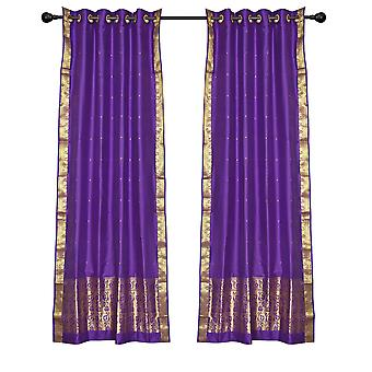 2 Boho Purple Indian Sari Curtains Ring Top Window Panels Drapes