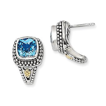 925 Sterling Silver With 14k Antiqued Blue Topaz Post Earrings - 5.40 cwt