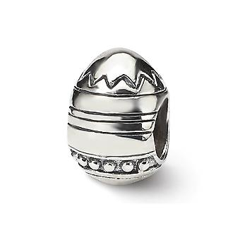 925 Sterling Argent Poli Antique finition Reflections Easter Egg Bead Charm