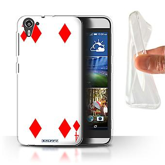 STUFF4 Gel/TPU Case/Cover for HTC Desire 826/4 of Diamonds/Playing Cards