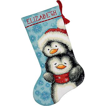 Hugging Penguins Stocking Needlepoint Kit 16