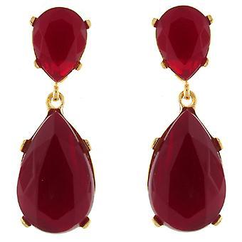 Kenneth Jay Lane røde Opal Crystal Teardrop øreringe
