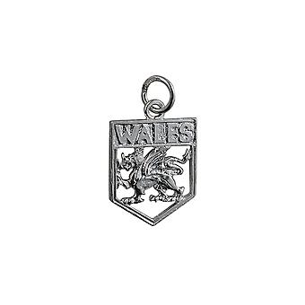 Silver 18x15mm Wales Badge Pendant or Charm