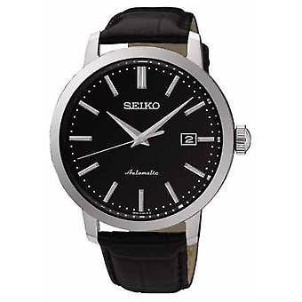 Seiko Mens Automatic Black Face Black Leather SRPA27K1 Watch