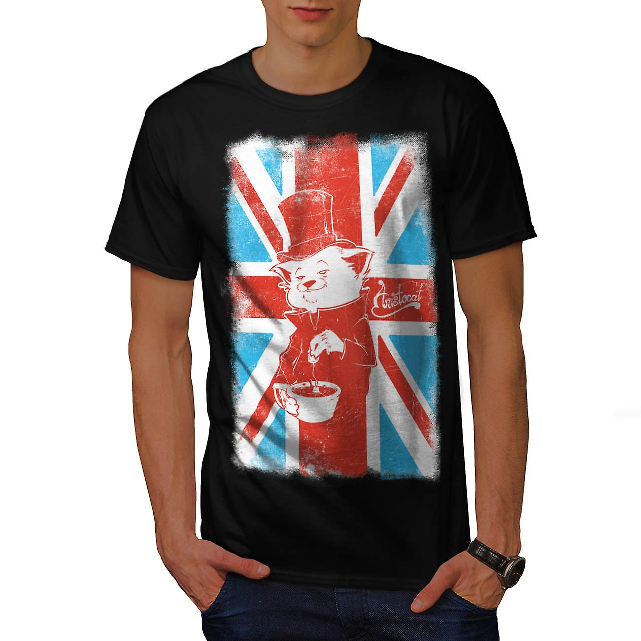 Great Britain Cat Flag UK British Tea Men Black T-shirt | Wellcoda