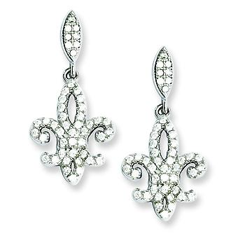 Sterling Silver and Cubic Zirconia Brilliant Embers Fleur De Lis Dangle Post Earrings