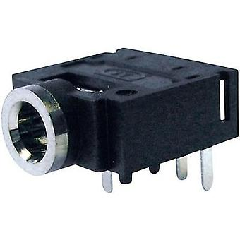 3.5 mm audio jack Socket, horizontal mount Number of pins: 4 Stereo Black Cliff FC68133 1 pc(s)