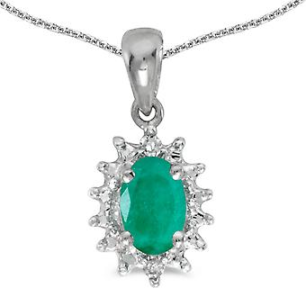 10k White Gold Oval Emerald And Diamond Pendant with 18