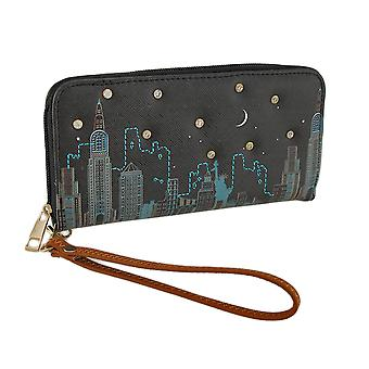 Colorful Cityscape Scene Textured Vinyl Zip Around Wallet
