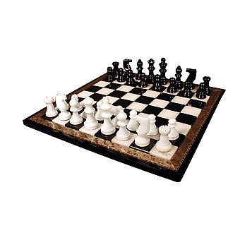 Black & White Alabaster Chess Set Wood Frame