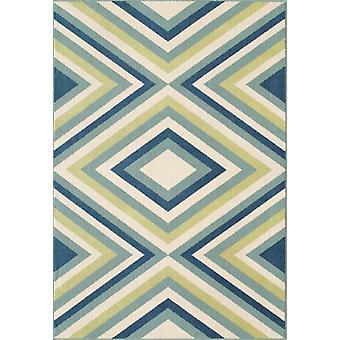 Blå & grønne geometriske Lounge tæppe - Floorit
