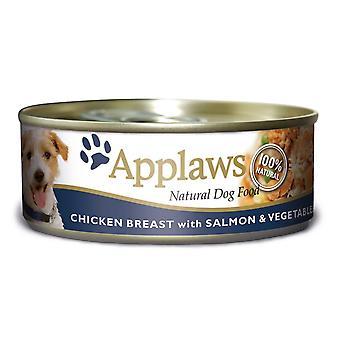 Applaws hund kan kylling laks & grøntsager 156g (pakke med 12)