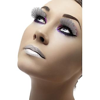Eyelashes artificial eye lashes silver with feathers