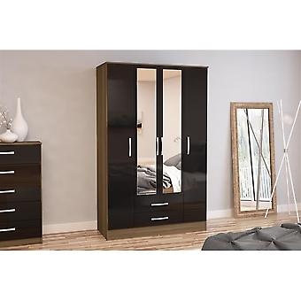 Birlea Lynx 4 Door 2 Drw/mirror Walnut & Black