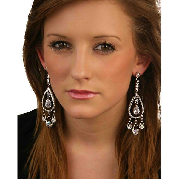 W.A.T Long Clear Sparkling Crystal Teardrop Chandelier Fashion Earrings