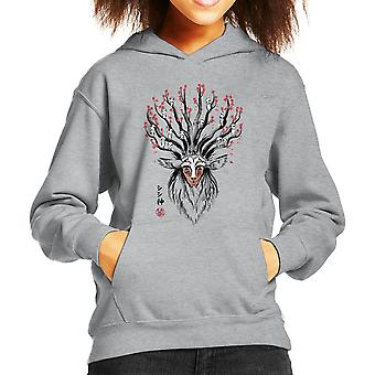 Princess Mononoke The Deer God Sumi E Kid's Hooded Sweatshirt