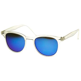 Small Retro P3 Horn Rimmed Sunglasses with Color Mirror Lens
