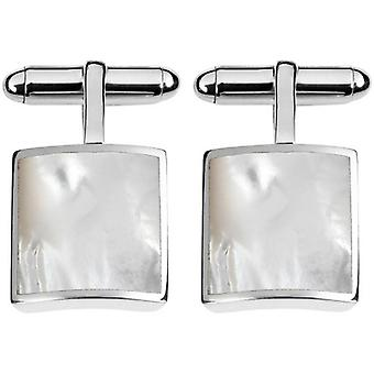 Orton West Sterling Silver Mother of Pearl Square Cufflinks - Silver