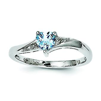 Sterling zilver licht Swiss Blue Topaz en Diamond Ring - Ringmaat: 6 tot en met 9