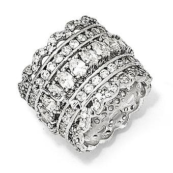 Sterling Silver Eternity band Rhodium-plated Cubic Zirconia Ring - Ring Size: 6 to 8
