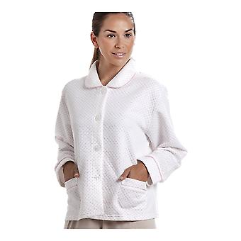Camille Womens White Bed Jacket With A Pink Dot Print