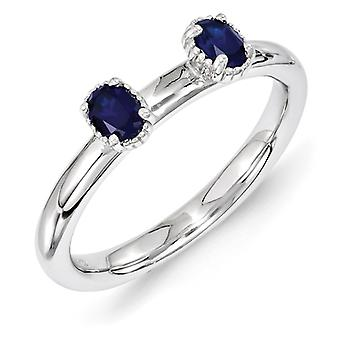 2.5mm Sterling Silver Stackable Expressions Created Sapphire Two Stone Ring - Ring Size: 5 to 10