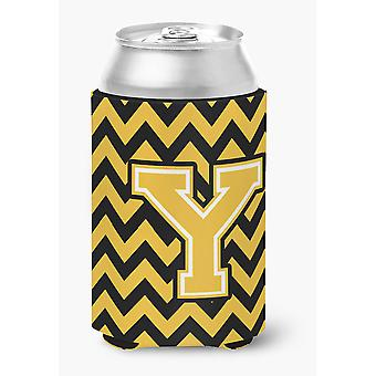 Letter Y Chevron Black and Gold Can or Bottle Hugger