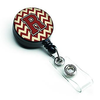 Letter R Chevron Maroon and Gold Retractable Badge Reel
