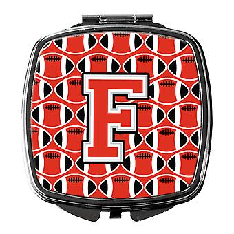Letter F Football Scarlet and Grey Compact Mirror