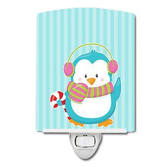Carolines skatter BB8684CNL Christmas Penguin og striper keramiske nattlys