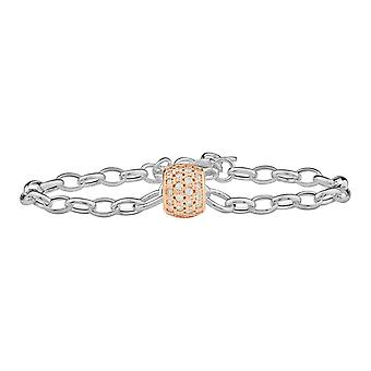 Sterling Silver 925 Womens Ladies Fine Chain Bracelet with Stunning Rose Gold Plated Charm in White Swarovski CZ Stones