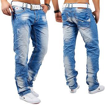 Men's Jeans pants of destroyed used wrinkle relax fit ripped Angelo