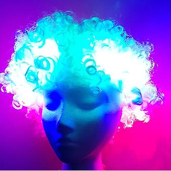 Disco Afro light LED white with 3 lights LED light up wig wig wig
