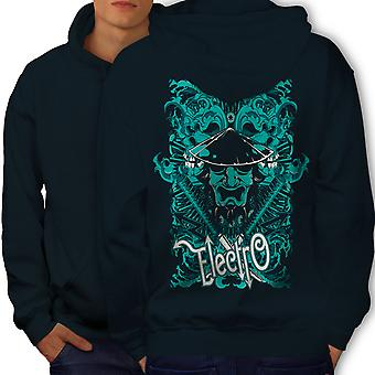 Electro Katana Music Men NavyHoodie Back | Wellcoda