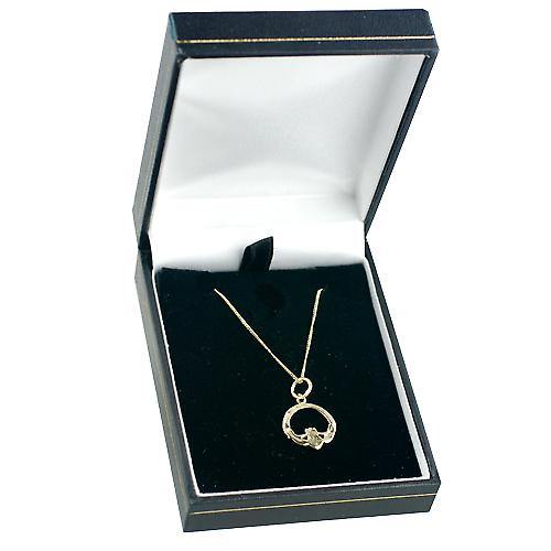 9ct Gold 14x14mm Claddagh pendant with curb chain