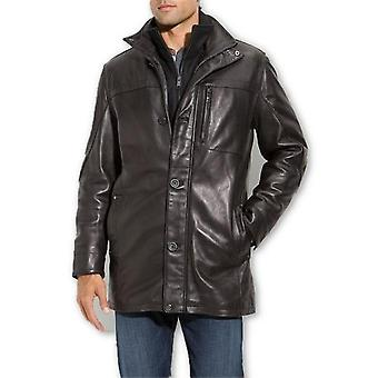 Mens Classic Lambskin 5 Button Brown Leather Coat