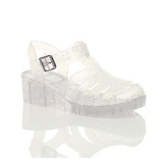 Ajvani girls mid block heel gladiator rubber jelly gladiator cut out 90's retro sandals