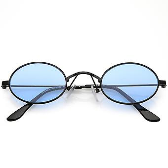 Extreme Small Oval Sunglasses Color Tinted Flat Lens 44mm