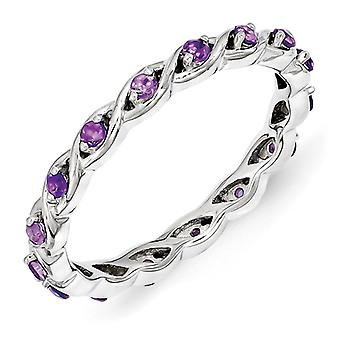 2.5mm Sterling Silver Polished Prong set Rhodium-plated Stackable Expressions Amethyst Ring - Ring Size: 5 to 10