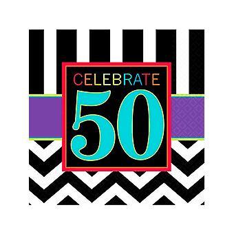Feliz cumpleaños Chevron diseño 50 servilleta