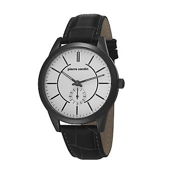 Pierre Cardin mens watch wristwatch TROCA black leather PC106571F05