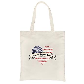 Ms. Independent Natural Canvas Shoulder Bag Cute 4th of July Gift