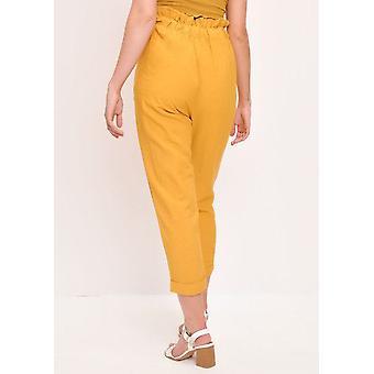 Paperbag hoch taillierte Leinen Hose gelb