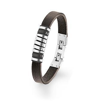 s.Oliver jewel mens leather bracelet Brown stainless steel 2022622