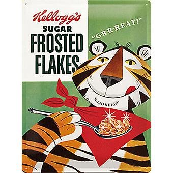 Kelloggs Frosted Flakes Paket große geprägte Stahl unterzeichnen 300 Mm X 400Mmna