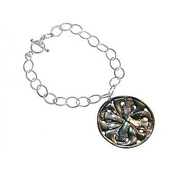 Gemshine Armband Anhänger Medaillon  Perlmutt 925 Silber Grau 3 cm