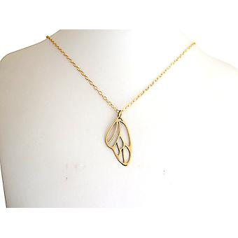 Butterfly wing necklace bronze plated pendant wing gold